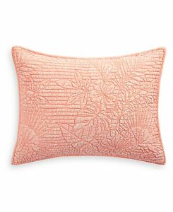 Martha Stewart STANDARD Pillow Sham Botanical Floral Cotton CORAL D0Z125