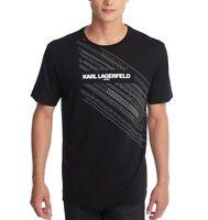 Karl Lagerfeld Men's Shirt Deep Black Size 2XL Graphic Tee Logo Crew $69 #428