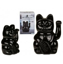MANEKI-NEKO JAPANESE NOVELTY BLACK LUCKY WAVING CAT LARGE ORNAMENT NEW & BOXED