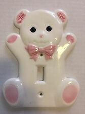 Vintage Teddy Bear Ceramic Light Switch Cover Plate Pink & White