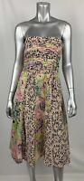 Nanette Lepore Bergdorf Goodman Dress 4 Silk Multicolor Floral Strapless Flare