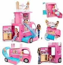 New Mattel Barbie Pop Up Popup Camper 3 Levels Pink RV Bus Home Van Truck Set