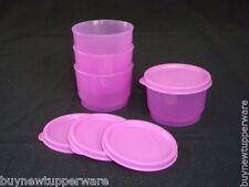 Tupperware Snack Cups 4pc Set Purple Liquid Tight Seals 4oz Snacks Crafts NEW