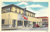 D7/ Pulaski Virginia Va Postcard Linen Hotel Pulaski Automobiles c1950s