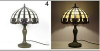 Tiffany Lamp W12 H18 Inch Yellow Brown Baroque Style Stained Glass Shade