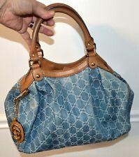 Classic Gucci Sukey Handbag Purse Rare Denim Blue Canvas Medium Bag
