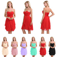 Women Lady Strapless Prom Evening Dress Formal Short Party Bridesmaid Dress Gown