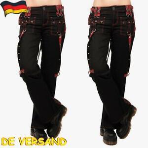 Damen Steampunk Gothic Hosen Cargohose Freizeithose Worker Chino Jeans Hüftjeans