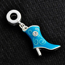 1pc white Filled Charms Fit European clear crystal Blue Enamel Shoe crafts