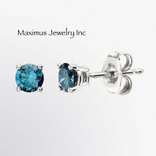 14K White Gold 1/7ct Natural Round Brilliant Tiny Blue Stud Earrings
