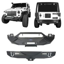 Off-road Front & Rear Bumper+D-Rings+Led Light for Jeep Wrangler JK/JKU 07-2018