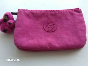 Womens, Girls Kipling Bright Pink Fabric Purse With Monkey Charm