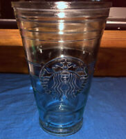 Clear Starbucks Recycled Glass Cold Cup 16 oz embossed Mermaid Logo Spain Thick