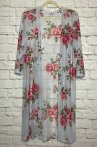 1X/2X/3X New Blue White Ticking Stripe Pink Roses Long Cardigan Sweater Duster