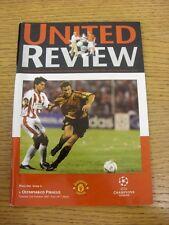 23/10/2001 Manchester United v Olympiakos [UEFA Champions League] . Thanks for v
