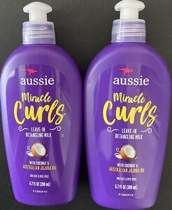 Lot of 2 Aussie Miracle Curls Leave-In Detangling Milk - 6.7 Oz EACH, NEW