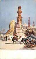 uk33413 signed perlbera artist signed egypt thebes moschee muslim