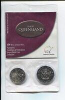 2001 20 & 50 cent Australia Centenary Federation 2 Coin Set UNC Queensland QLD