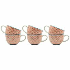 Patterned Cappuccino / Coffee / Tea Cups - 250ml Orange Print Design - Box Of 6