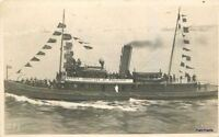 C-1918 WW1 New York Welcome Boat Patriotic Military Flags RPPC Real Photo 883