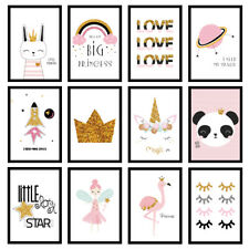 Girls Bedroom Nursery Pink Gold Glitter Art Prints Wall Art A3/A4/A5 Posters