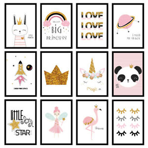 Girls Bedroom Nursery Pink Gold Glitter-Effect Prints Wall Art Unframed Posters