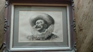 Louis leloir French etching the Cavalier 1870-80 matted beautiful frame signed