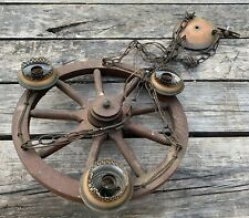 """Vtg Western 18"""" Wagon Wheel Wood 3 Light Fixture Chandelier"""