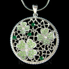 w Swarovski Crystal Irish St Patricks Day Circle 4 Leaf Clover Shamrock Necklace