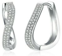 14K White Gold Huggie Hoop Earrings Made with Swarovski Crystals + Free Gift Box