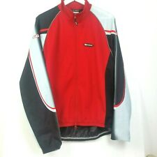 LOUIS GARNEAU WindTex MED Full Zip Cycling Jersey Jacket Back Vented Red Gray