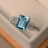 2.50Ct Emerald Cut Aquamarine Solitaire Engagement Ring 14K White Gold Finish