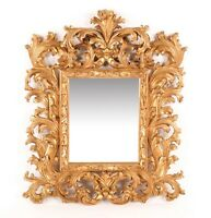 Impressive Antique Carved Giltwood Italian Baroque Wall Mirror beveled glass