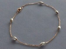 """New 10"""" Two Tone- Rose/Sterling Silver Ankle Bracelet w/Oval Beads-Italy 925"""