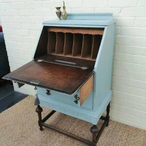 Vintage Bureau Writing Desk Painted Pale Blue with key