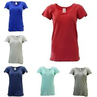 Women's 100% Cotton Basic Tee Scoop U Neck Top Casual Short Sleeve T-Shirt