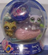Littlest Pet Shop Snowy Day Polar Bear Raccoon #1681 1682 Slightly Damaged Box
