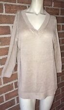 NWT TALBOTS Woven Linen V-Neck Tunic Sweater 3/4 Sleeves Flax Brown Large