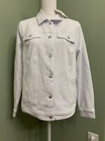 Quacker Factory DreamJeannes Button Front Jean Jacket - White - Medium