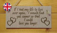 If I had my life again. Love,Friends,Wife.Married,Husband Engraved Plaque Gift