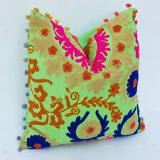 """New Suzani Cushion Cover 16"""" Vintage Pillow Cases Decor Indian Cotton Handmade S"""