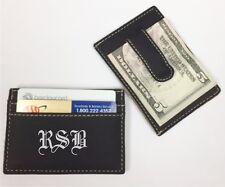 3 Personalized Engraved Leather Money Clip Black Groomsman Best Man Usher Gift