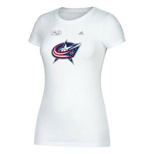 Columbus Blue Jackets NHL Adidas Women's Centennial Primary White T-Shirt