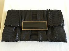 New without Tags R & Y AUGOUSTI Python Snakeskin Clutch Bag Handbag, Black