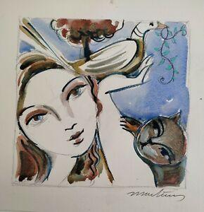 MARTINERY. La colombe de la paix  papier aquarelle épais  25x25