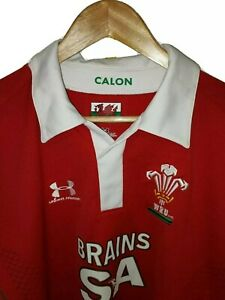 Under Armour Large Welsh Rugby Shirt Home Jersey 2008 Red 6Nations