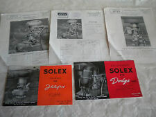 Vintage Solex carburettor Tech brochures for ex us army jeeps & Dodge GMC Trucks
