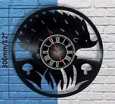 HEDGEHOG Sign Vinyl Record Wall Clock Home Decor Ornament Animal Figurines Art