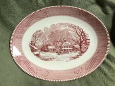 """Currier And Ives Pink Royal China 13"""" Oval Meat Platter Old Inn Winter"""