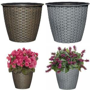 """Resin Planter Flower Pot Indoor/Outdoor, Brown or Gray, Three Sizes, 8"""" 10"""" 12"""""""